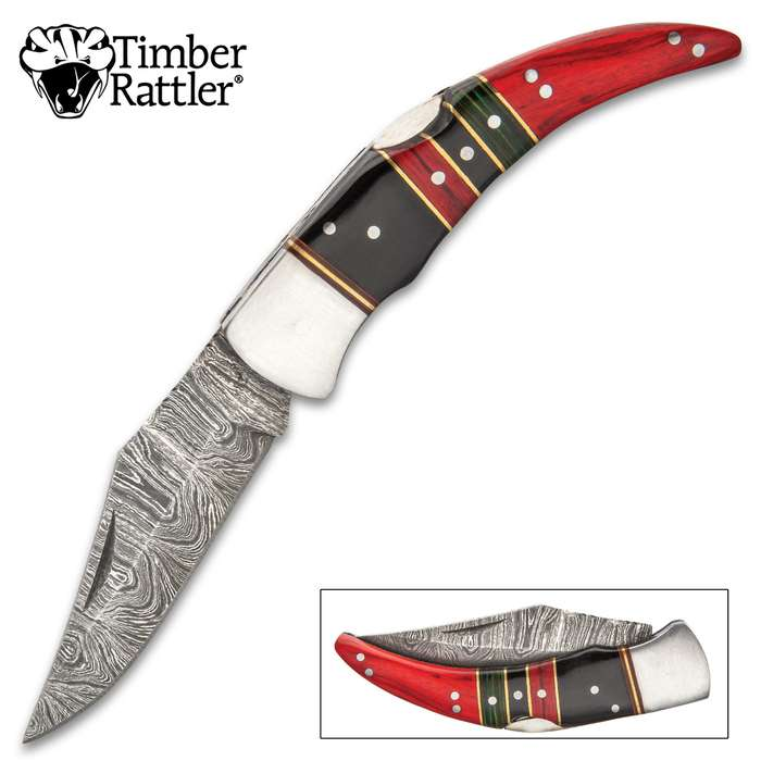 """Timber Rattler Painted Desert Pocket Knife - Damascus Steel Blade, Wooden Handle Scales, Brass Spacers, Stainless Steel Bolster - Closed 4 1/2"""""""
