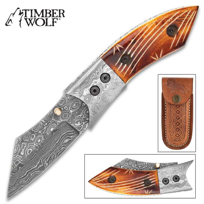 Timber Wolf Zimbabwe Pocket Knife With Case - Damascus Steel Blade, Colored Bone Handle Scales, Damascus Bolster, Fileworked Liners