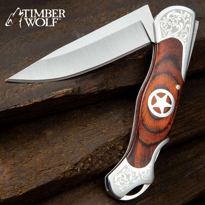 Timber Wolf Sheriff Lockback Pocket Knife - 3Cr13 Stainless Steel Blade, Assisted Opening, Wooden Handle Scales, Etched Bolsters