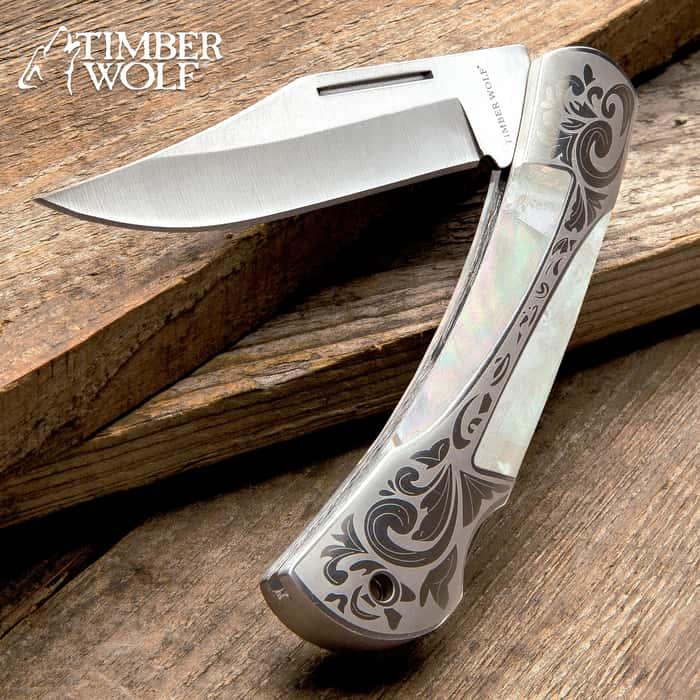 Timber Wolf Gentleman's Pearl Pocket Knife - Lock Back, Stainless Steel Blade, Genuine Pearl Inlays, Nickel Silver Bolsters