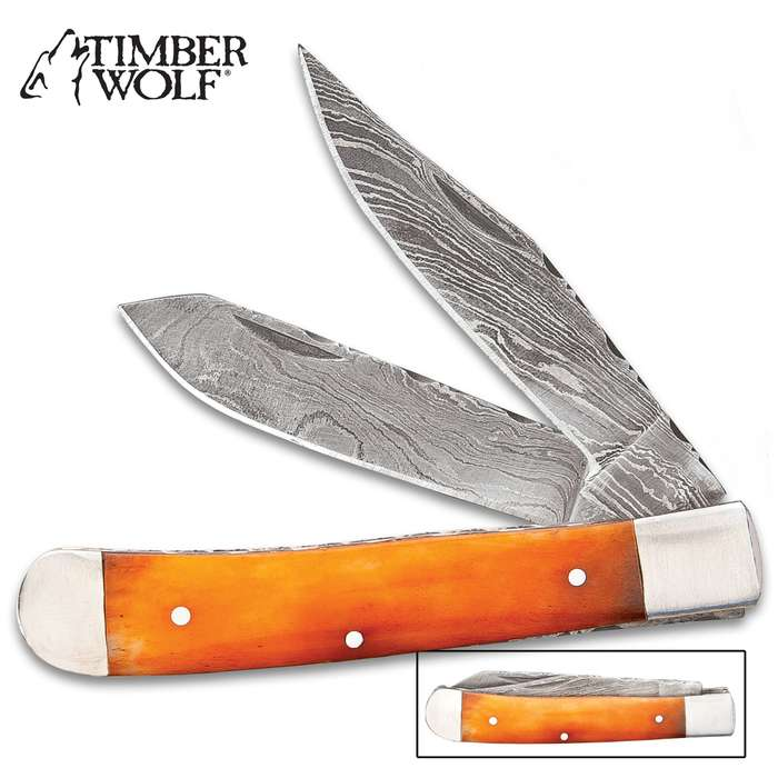 Timber Wolf Elemental Series Spirit Of Fire Pocket Knife - Damascus Steel Blades, Camel Bone Handle Scales, Fileworked Liners