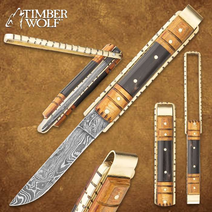 """Timber Wolf Brass Barrister Pocket Knife - Damascus Steel Blade, Wooden Handle, Brass Pins and Liners - Closed 4 1/2"""""""