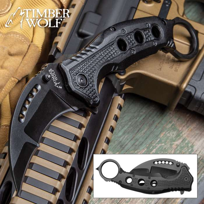 Timber Wolf Black Finish Karambit Pocket Knife