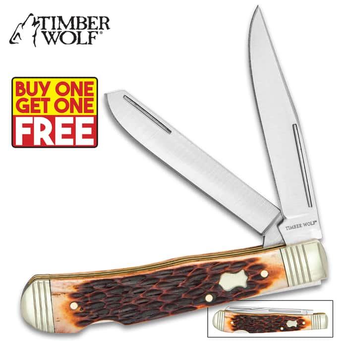 Timber Wolf Rustic Bone Trapper Pocket Knife - Stainless Steel Blades, Jigged Bone Handle, Double Lockback - BOGO