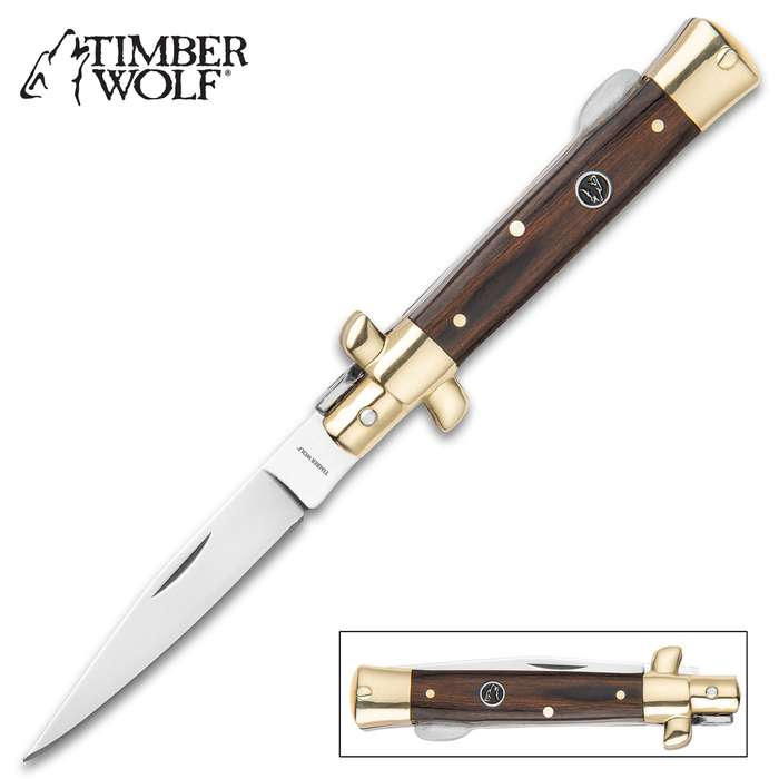 """Timber Wolf Brazilwood Stiletto Traditional Pocket Knife / Folder - 420 Stainless Steel - Exotic Brazilwood - Versatile, Dependable Everyday Carry; Collectible, Display-Worthy Beauty - 4 3/4"""" Closed"""