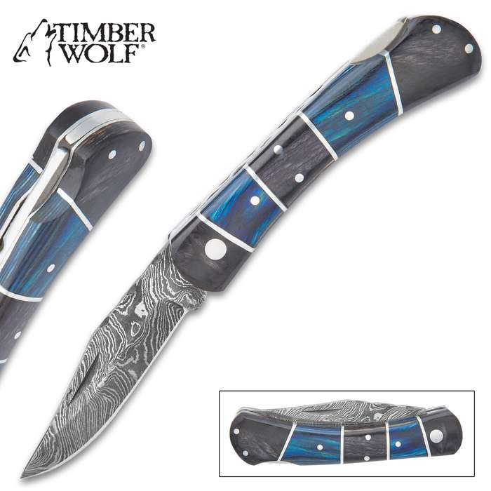 """Timber Wolf Rainshadow Handmade Pocket Knife / Folder - Hand Forged Damascus Steel, File Worked Scalloping - Royal Blue and Smoky Black / Gray Pakkawood - Collectible, Everyday Carry, Gift - 4"""" Closed"""