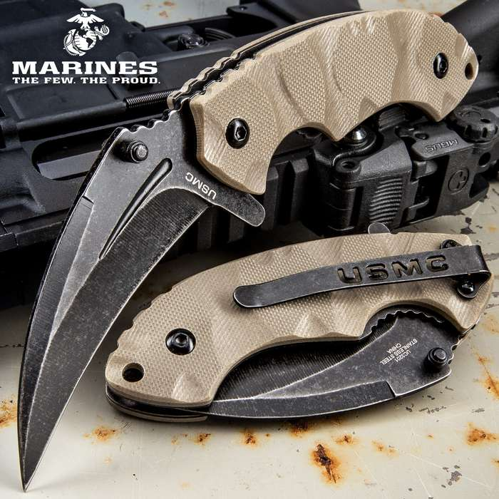 USMC Scorching Sands Assisted Opening Hawkbill Pocket Knife - G10 Handle - Officially Licensed