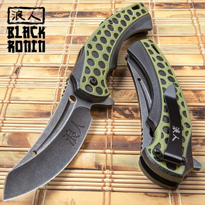 Black Ronin Hive Shuriken Assisted Opening Pocket Knife - Stainless Steel Blade, Non-Reflective, Double-Injected Handle, Pocket Clip