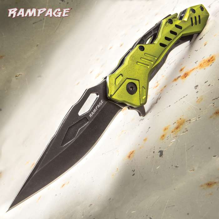 """Rampage Green Atomica Assisted Opening Pocket Knife - Stainless Steel Blade, Aluminum Handle, Bottle Opener, Pocket Clip - Closed 4 3/4"""""""