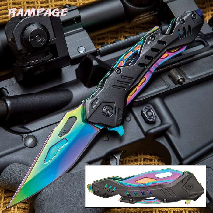 """Rampage® Rainbow Atomica Assisted Opening Pocket Knife - Stainless Steel Blade, Aluminum Handle, Bottle Opener, Pocket Clip - Closed 4 3/4"""""""