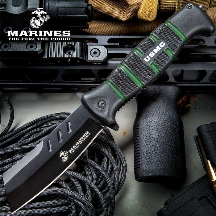 USMC Cleaver Assisted Opening Pocket Knife - Stainless Steel Blade, Non-Reflective, TPR Handle, Metal Pocket Clip