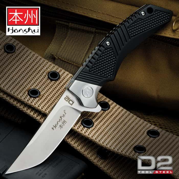 Honshu Premium Sekyuriti Ball Bearing Opening Pocket Knife - D2 Tool Steel Blade, TPU Handle Scales, Steel Pocket Clip