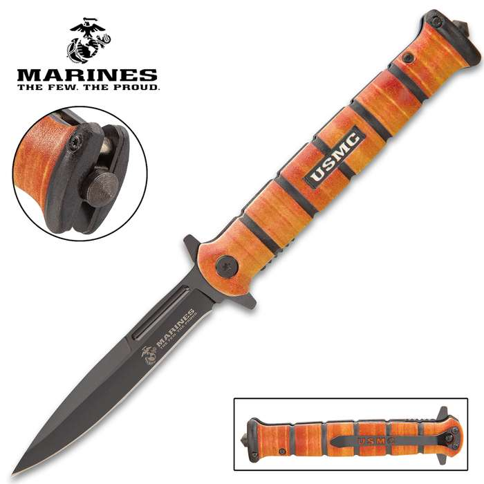 """USMC Heritage Stiletto Pocket Knife - Stainless Steel Blade, Assisted Opening, Stacked Aluminum Alloy Handle, Glass Breaker - Closed 5 1/4"""""""