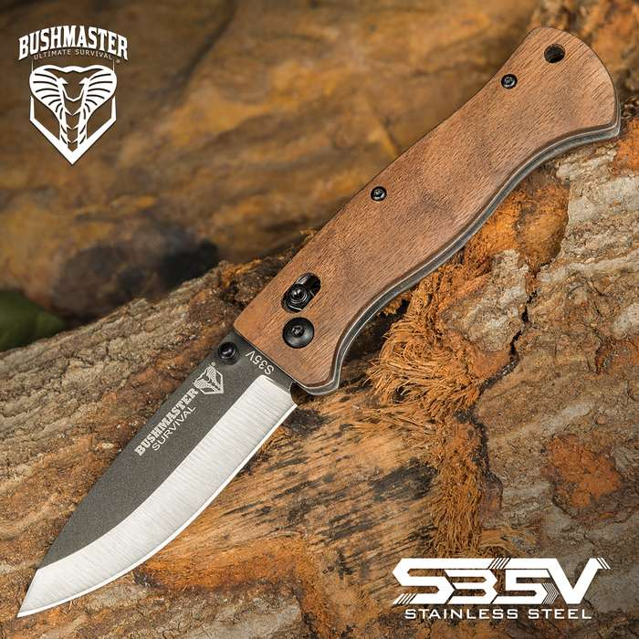 Hardness and durability are the hallmarks of the richly veined zebra wood used to craft the handle scales of the Bushmaster Bushcraft Explorer Pocket Knife