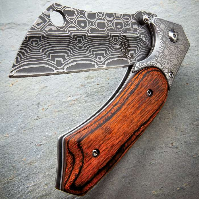 Buckshot Assisted Opening Damascus Pocket Knife - Stainless Steel Blade, Damascus Etch, Wooden Handle, Pocket Clip