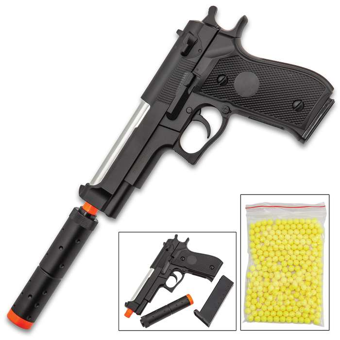 M22 Spring Air Pistol With Silencer - Aluminum Barrel, Sturdy ABS Polymer Construction, 275 FPS, 15-Round Magazine