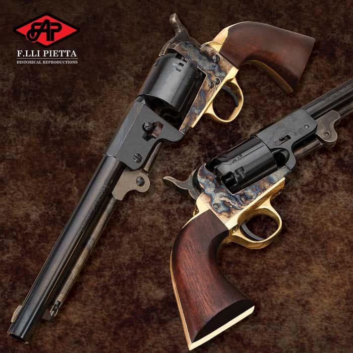 """1862 Dance Black Powder Pistol - .44 Caliber, Single Shot, Casehardened Steel Frame, Walnut Grip - Overall Length 13 1/5"""""""