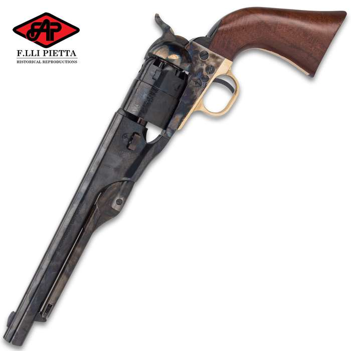 "1860 Army Case Hardened Black Powder Pistol - Accurate Replica, Casehardened Steel Frame, .44 Caliber, 8"" Barrel"