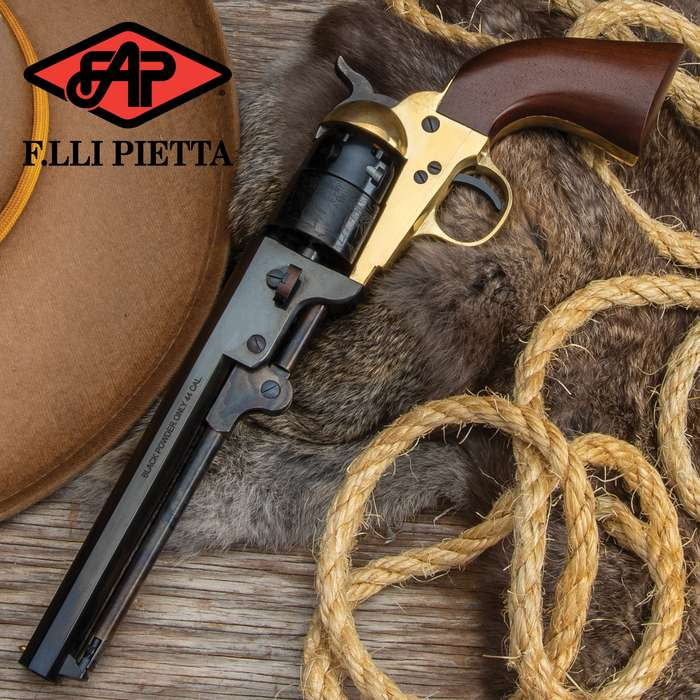 A very popular revolver for its time, the model 1851 Navy revolver was adopted by both the U.S. and British military