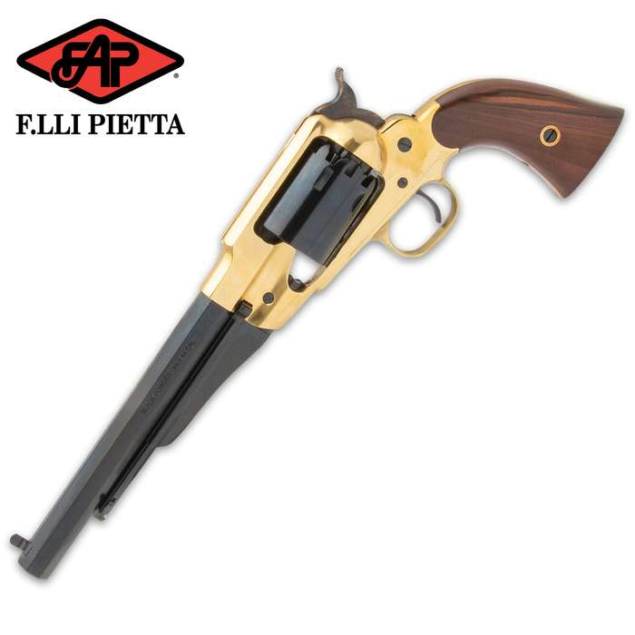 This black powder pistol replicates the original 1858 Remington that was used by soldiers during the American Civil War
