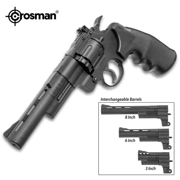 Crosman .357 Triple Threat Revolver Air Gun Kit - Die Cast Metal Frame, Three Sizes Of Steel Barrel, Two Rotary Magazines