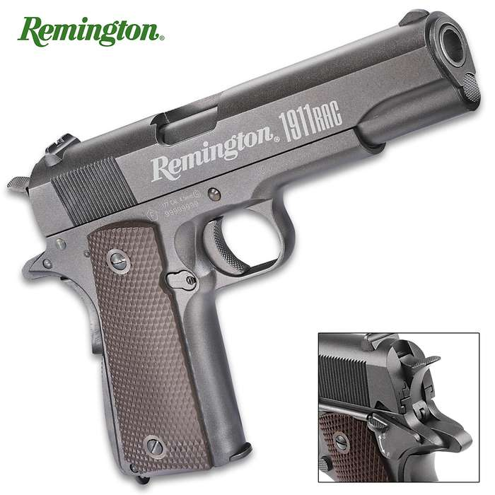 """Remington 1911 RAC Air Pistol - CO2-Powered, Full-Metal Construction, Blowback Action, 320 FPS, 18-Round Magazine - Dimensions 8""""x 5 1/2"""""""