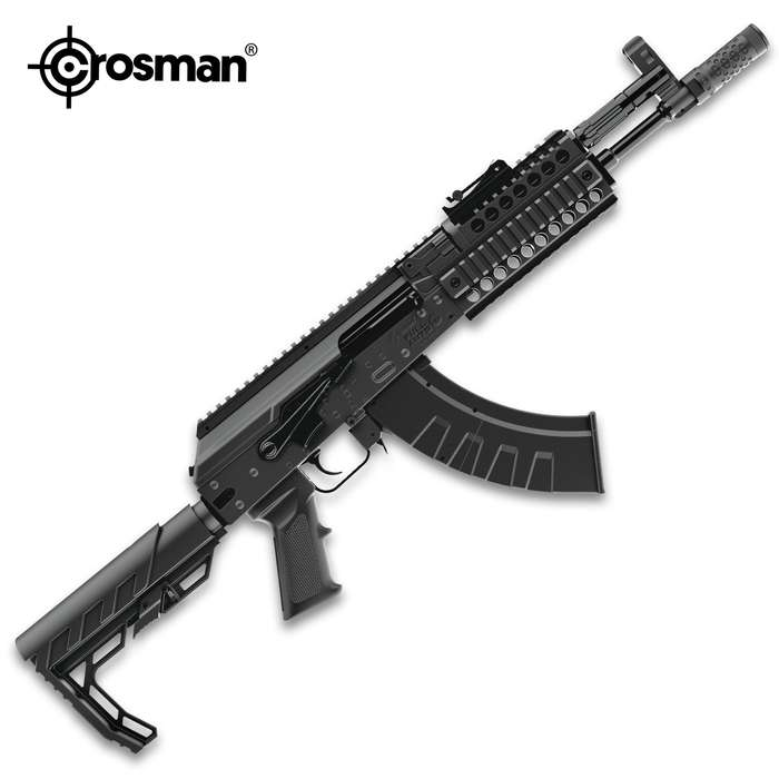The Crosman AK1 Full Auto BB Rifle features a full or semi-auto mode and blow back action, giving you a realistic shooting experience