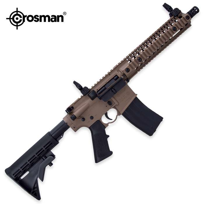 """With realistic blowback action, this semi-automatic air rifle will send BBs from its 10 1/2"""" barrel at up to 430 fps"""