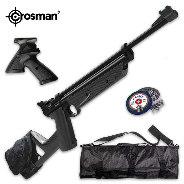 The versatile, variable pump air gun is dipped in a carbon fiber hydro-dip with fiber optic front sights and an open rear sight