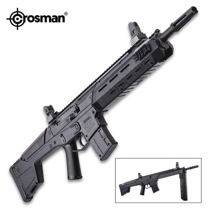 Crosman Bushmaster ACR Dual Ammo Air Rifle - .177 Caliber, Rifled Steel Barrel, Variable Pump, Bolt Action, Adjustable Sights, Picatinny Rails