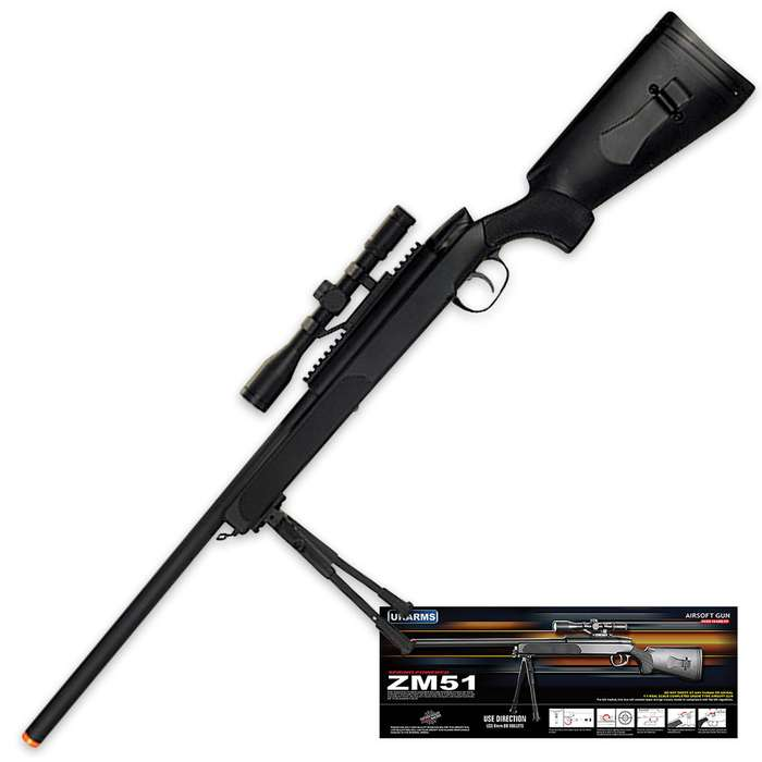 CYMA Bolt Action Airsoft Rifle Scope with Scope and Bipod