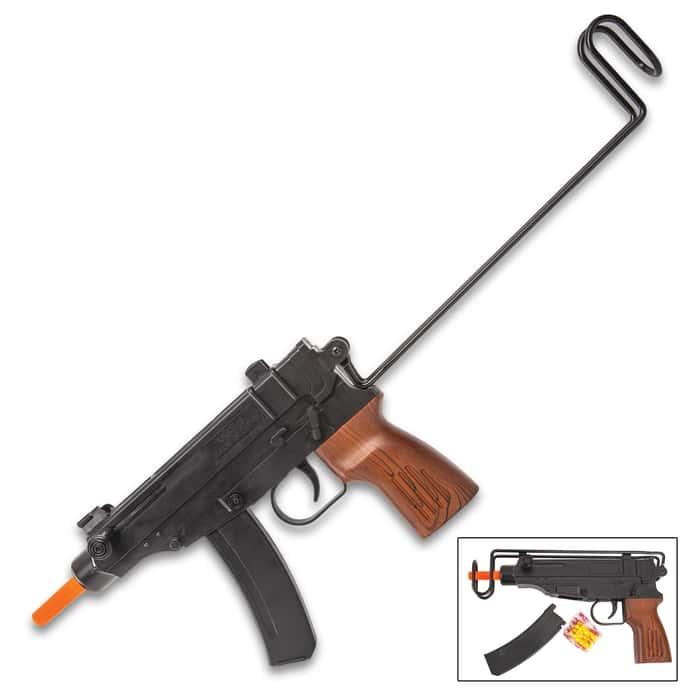 Black Scorpion Spring Airsoft Pistol - Faux Wood Pistol Grip, ABS Polymer Construction, Flip Skeleton Stock, 26-Round Magazine