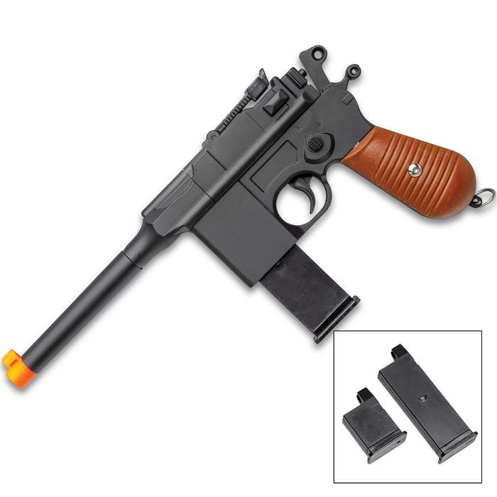 Replica G12 Mauser Broom Handle Spring Powered Airsoft Pistol - Metal Alloy And ABS Construction, 210 FPS