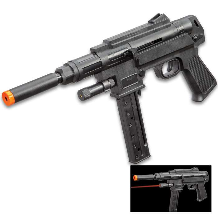 """Spring Powered Mini Uzi Airsoft Gun With Red Laser - ABS Construction, 225 FPS, 21-Round Magazine - Length 15"""""""