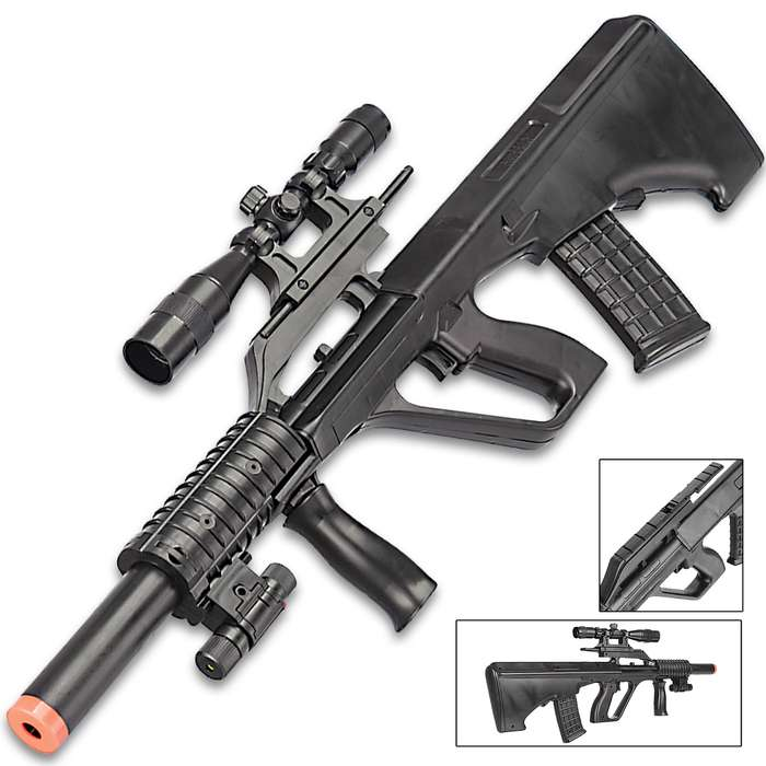 """UKArms P2300 Spring Powered Rifle With Laser Scope - Tough ABS Construction, 230 FPS, Detachable Magazine - Length 23 3/4"""""""