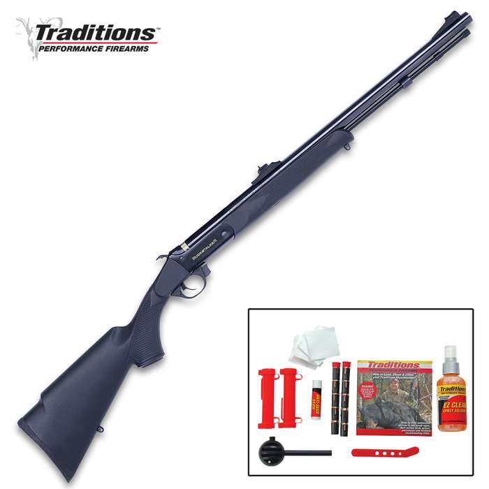 Buckstalker .50 Caliber Black Powder Gun Redi-Pak - Complete Shooting Kit, Blued Barrel, Alloy Frame, Breech Plug, Speed Load System