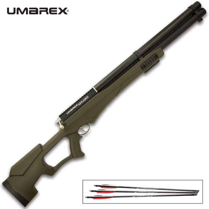The Umarex AirSaber airbow uses high-pressure air and a special arrow to achieve velocities up to 450 fps and 169 ft-lbs of energy