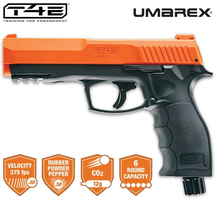 Protect your home and those you love with the semi-automatic Umarex 50-Caliber Home Defense Pepper Ammo Air Pistol