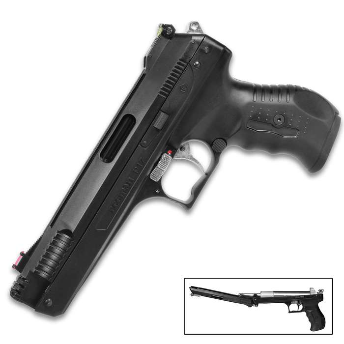 The Single Stroke Pneumatic Lead Pellet Pistol features outstanding accuracy and velocity with a single, recoilless pump
