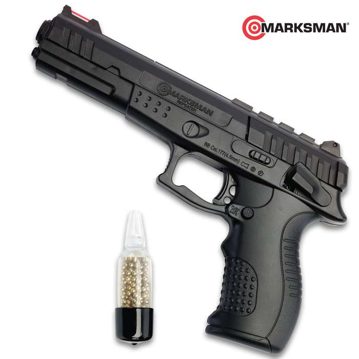 This Marksman BB Air Pistol makes an ideal basement or backyard plinker and a great tool for teaching new shooters about gun safety, target acquisition and other basic shooting principles