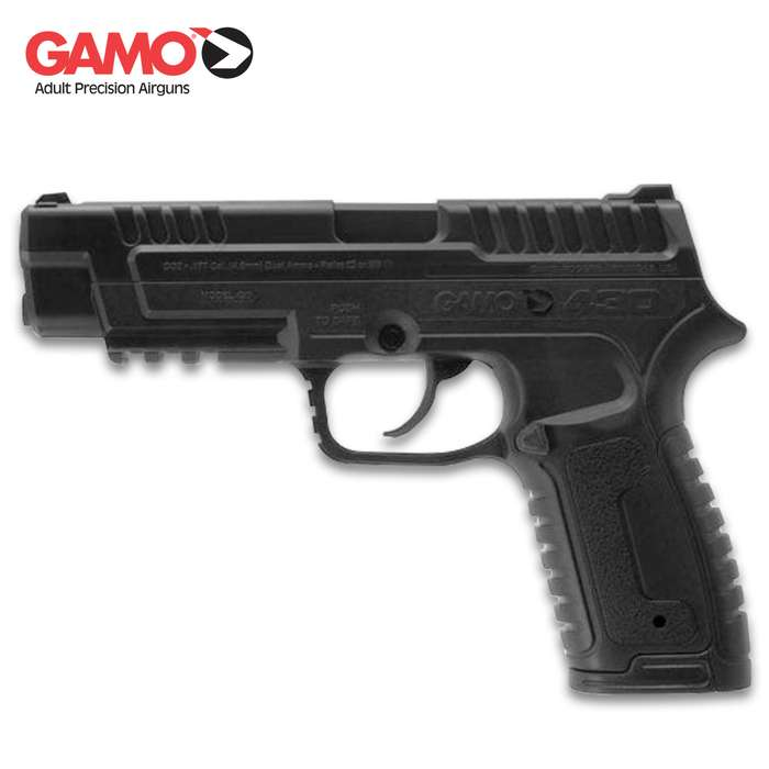 With a 12-grain CO2 powerplant, the air pistol will shoot both alloy pellets and steel BBs from a 16-round rotary clip