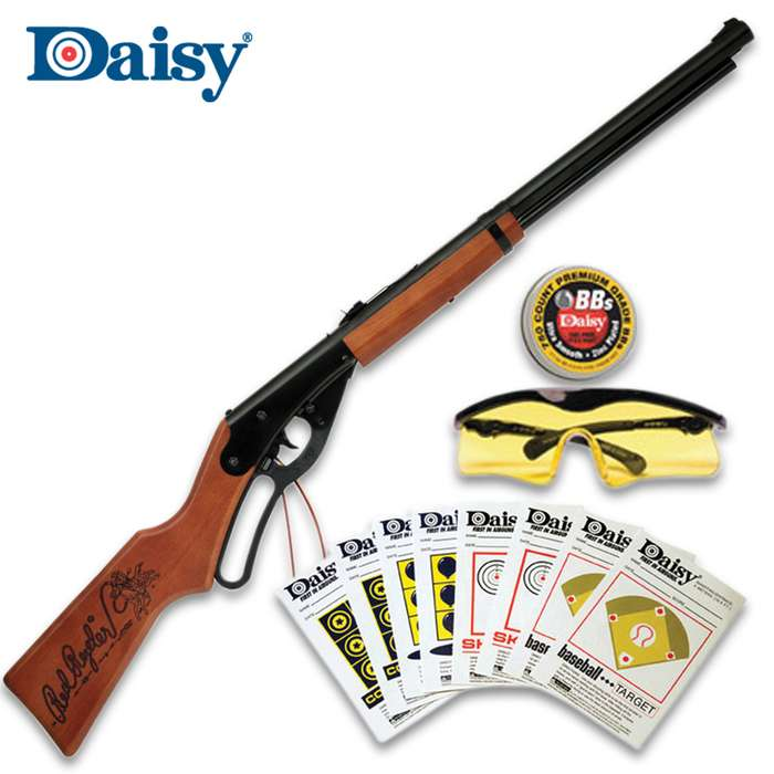 This great backyard shooting kit includes the Red Ryder BB gun, shooting glasses, a tin of PrecisionMax BBs and Target Fun Pack