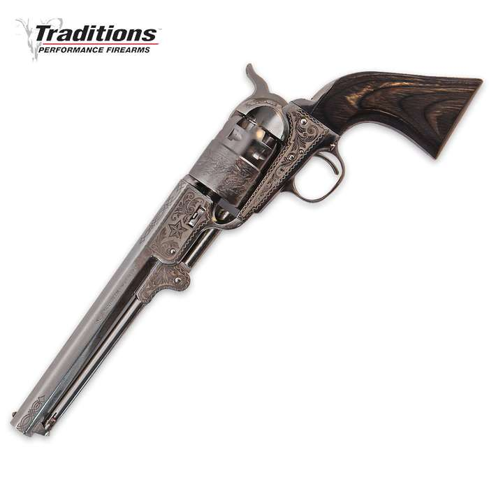 Traditions Firearms .44 Caliber 1851 Navy Black Powder Revolver with Nickel Finish, Black Grip