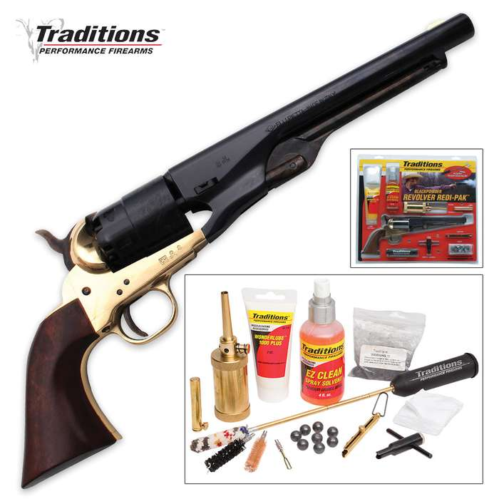 Traditions Firearms .44 Caliber 1860 Army Black Powder Revolver with Accessories - Redi-Pak