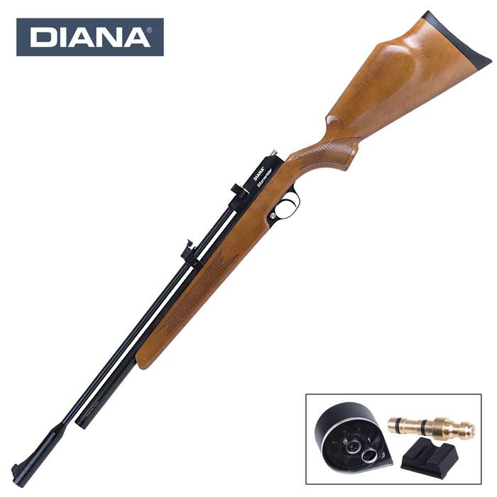 Diana Stormrider Multi-Shot .177 Caliber PCP Air Rifle - Checkered Beech Stock, Single-Stage Trigger, 9-Shot Rotary Magazine
