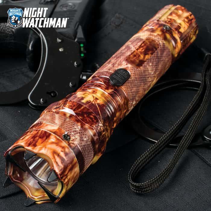 Night Watchman 2 Million-Volt Stun Gun / LED Flashlight Combo Defense Tool - Orange Camo