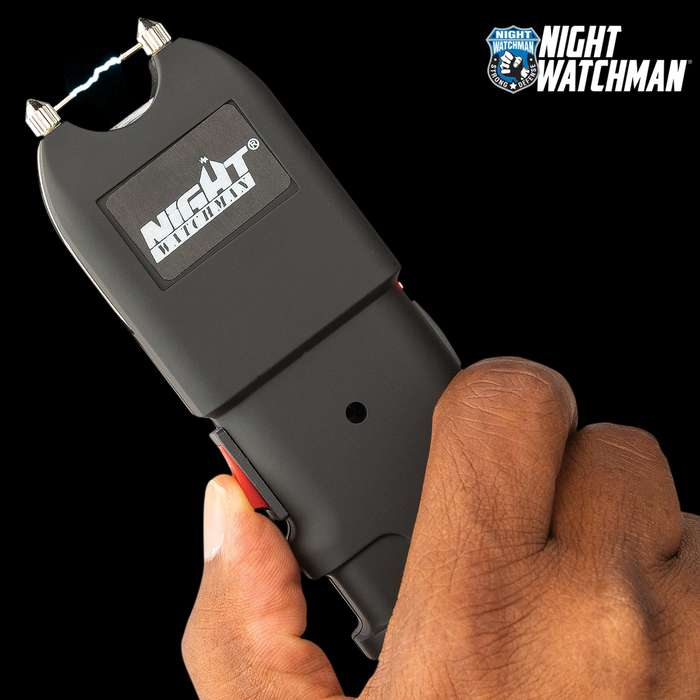 This handheld stun gun with flashlight puts out quite a bit of stopping power