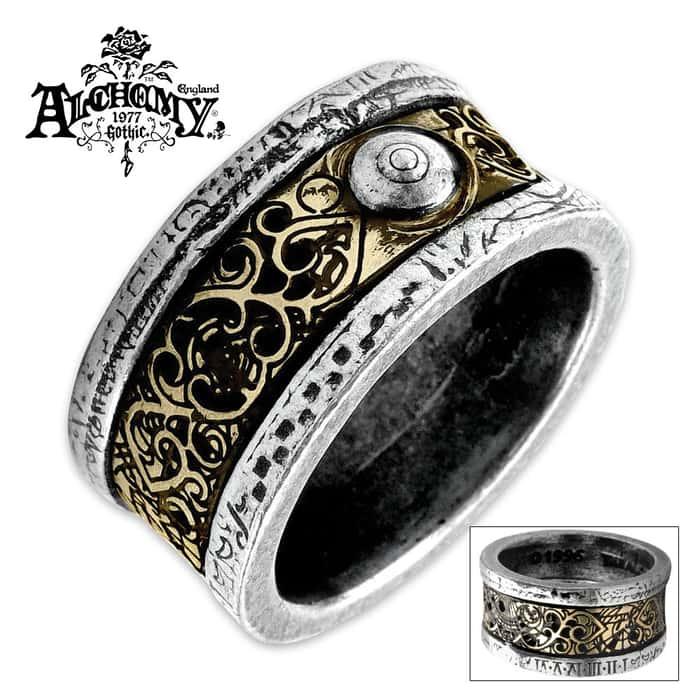 Dr. Von Rosenstein English Pewter And Etched Brass Inlay Ring