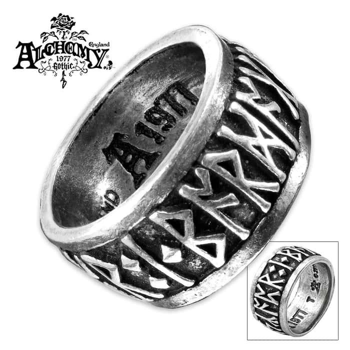 Rune Band English Pewter Ring