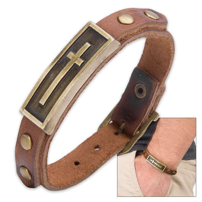 Genuine Brown Leather Cross Bracelet